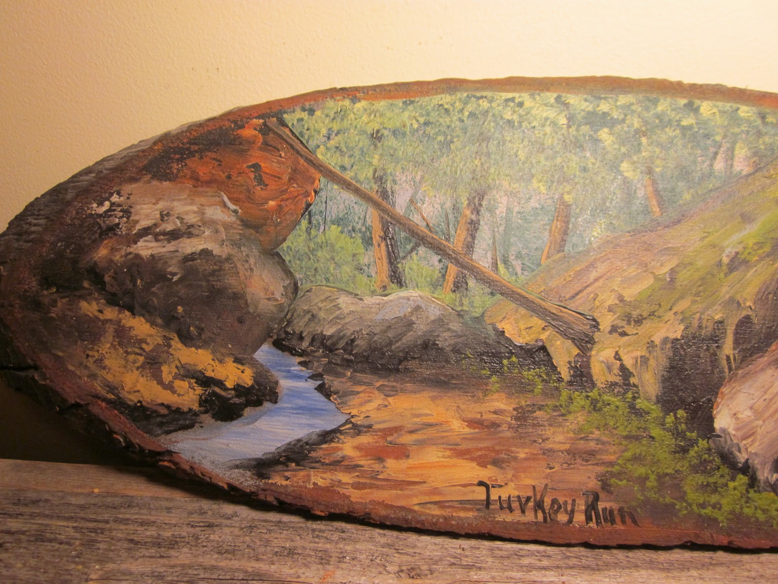 Art Painted On Wood Country Weekend Wood Slice Paintings