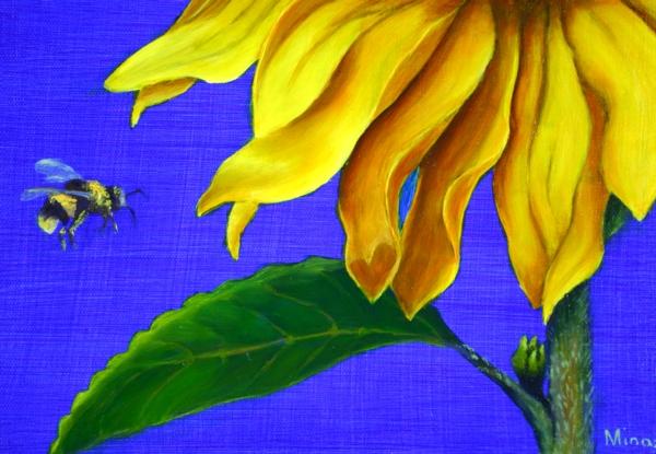 Sunflower Diptych  CLOSE-Up of BEE & Hidden Heart by Minaz Jantz