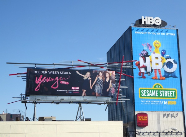 Younger Sesame Street billboards Sunset Strip