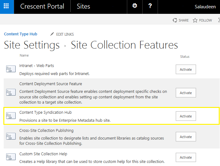 how to configure content type hub sharepoint 2013