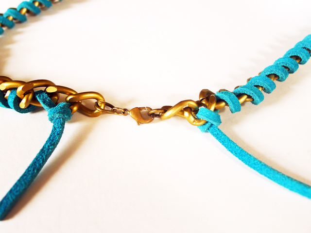 DIY suede wrapped necklace