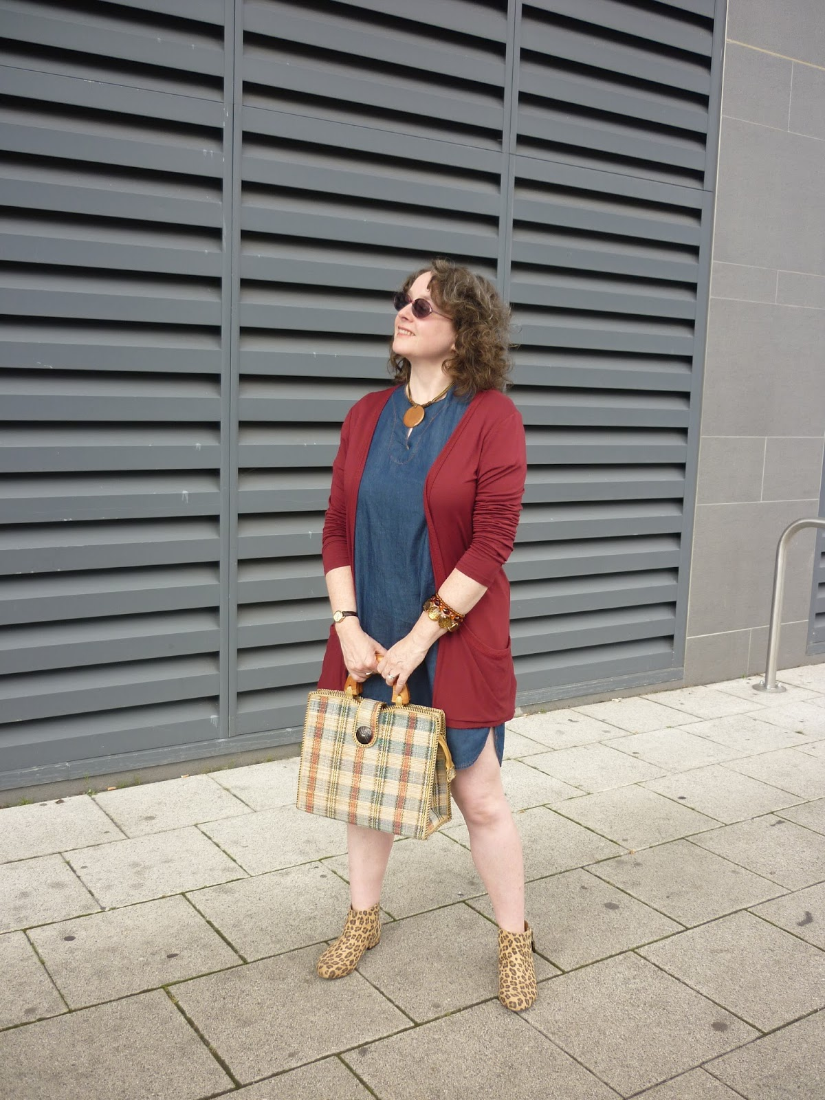 Leopard Print Chelsea Boots, Denim Shift Dress & Red Boyfriend Cardigan | Petite Silver Vixen