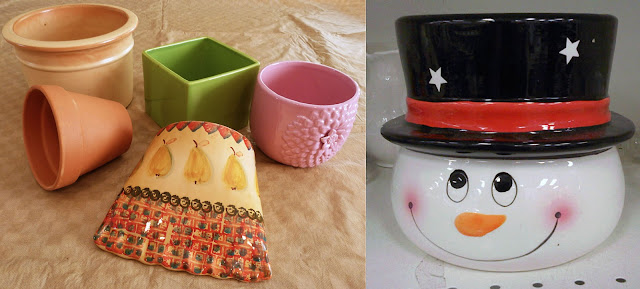 Interesting pots and a cute snowman planter