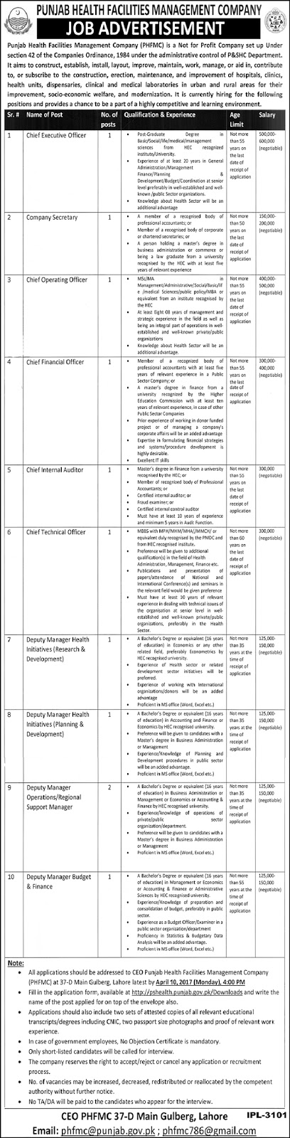 Jobs in Punjab Health Facilities Management Company Lahore