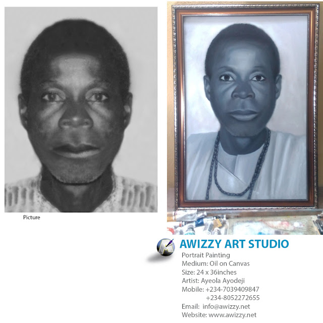 Black and white portrait painting by artist ayeola ayodeji awizzy