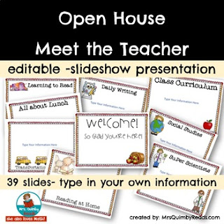 Meet the Teacher Night, Back to School resources, MrsQuimbyReads, slideshow presentation for meet the teacher night