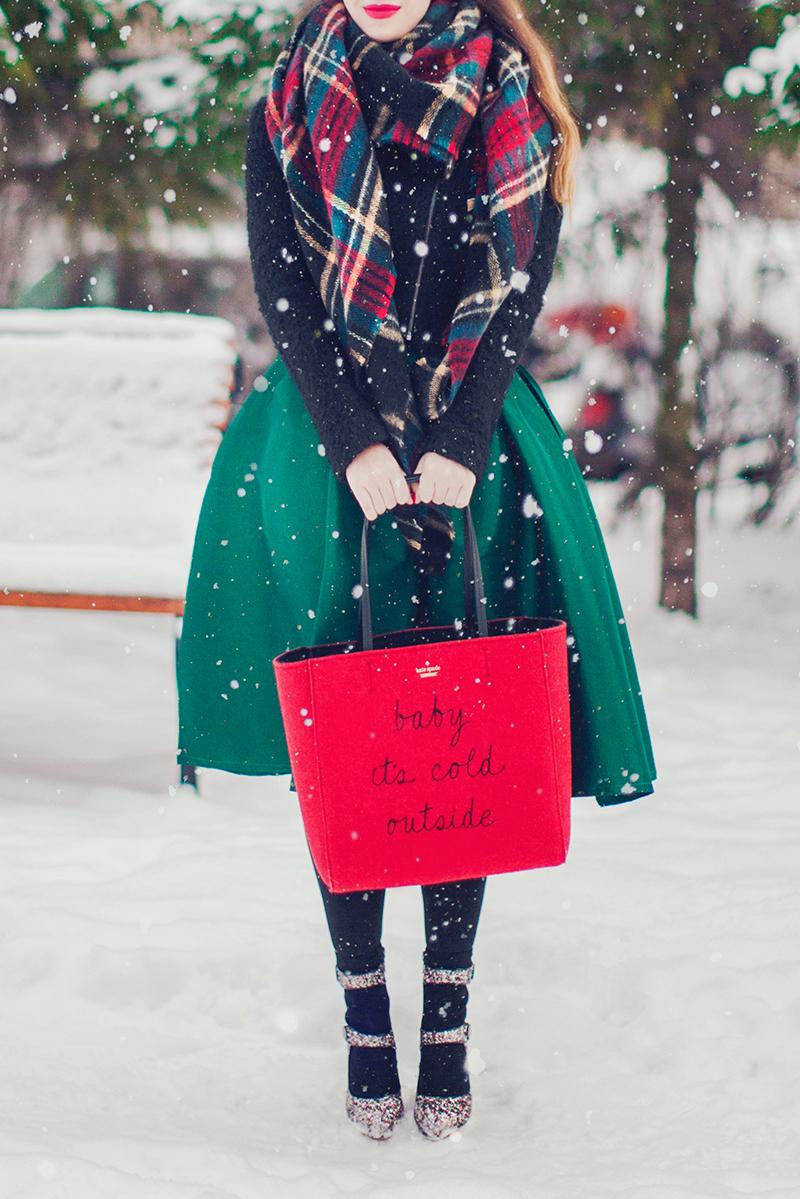 Chicwish Green A-line Midi Skirt