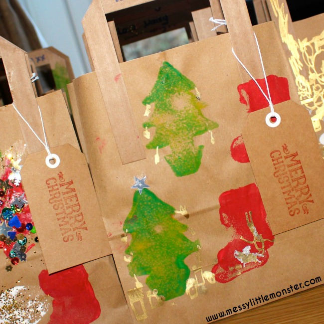 Homemade Christmas gift bags.  A fun DIY kids craft that is simple enough for toddlers and preschoolers
