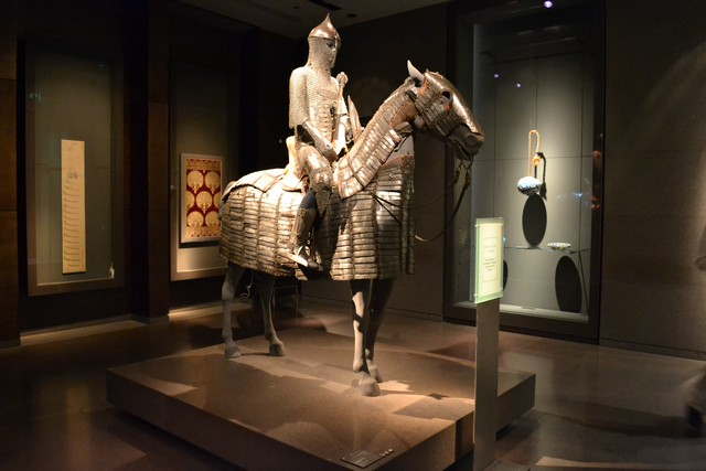 An 18th century Turkish steel armor for horse and rider at Museum of Islamic Art Doha Qatar. Photo: amuslimtraveler