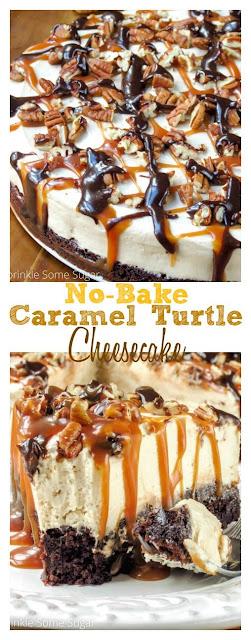 NO-BAKE CARAMEL TURTLE CHEESECAKE