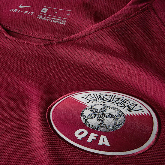f300db1ac2c Based on the Nike 2018 template and featuring a modern simplistic look, the  new Qatar 2018 home shirt is maroon with a Nike Swoosh.