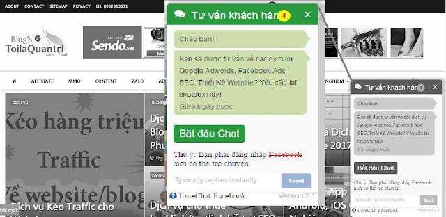 Tạo live chat Facebook Hỗ Trợ Khách Hàng