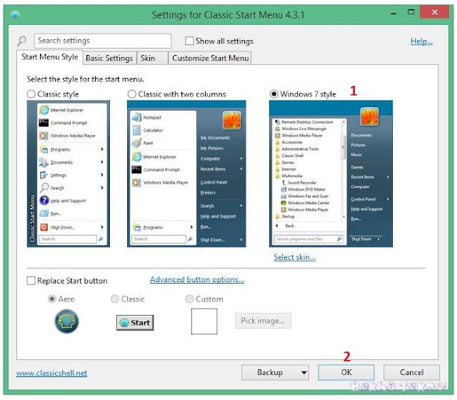 Merubah tampilan windows 8, 8.1 menjadi windows 7