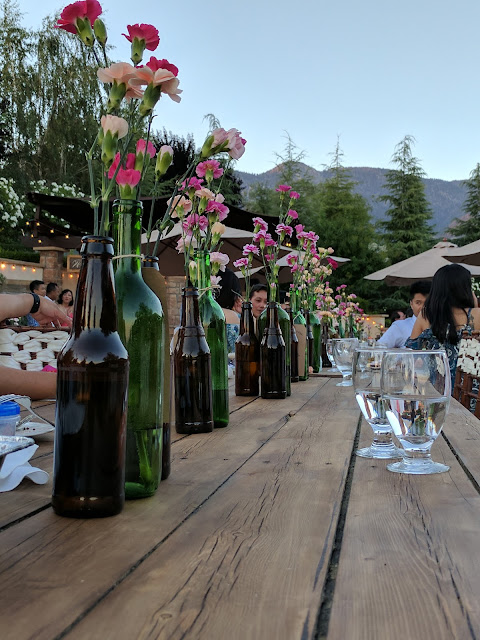 flowers, carnations, wine, bottles, beer, diy, decor, wedding