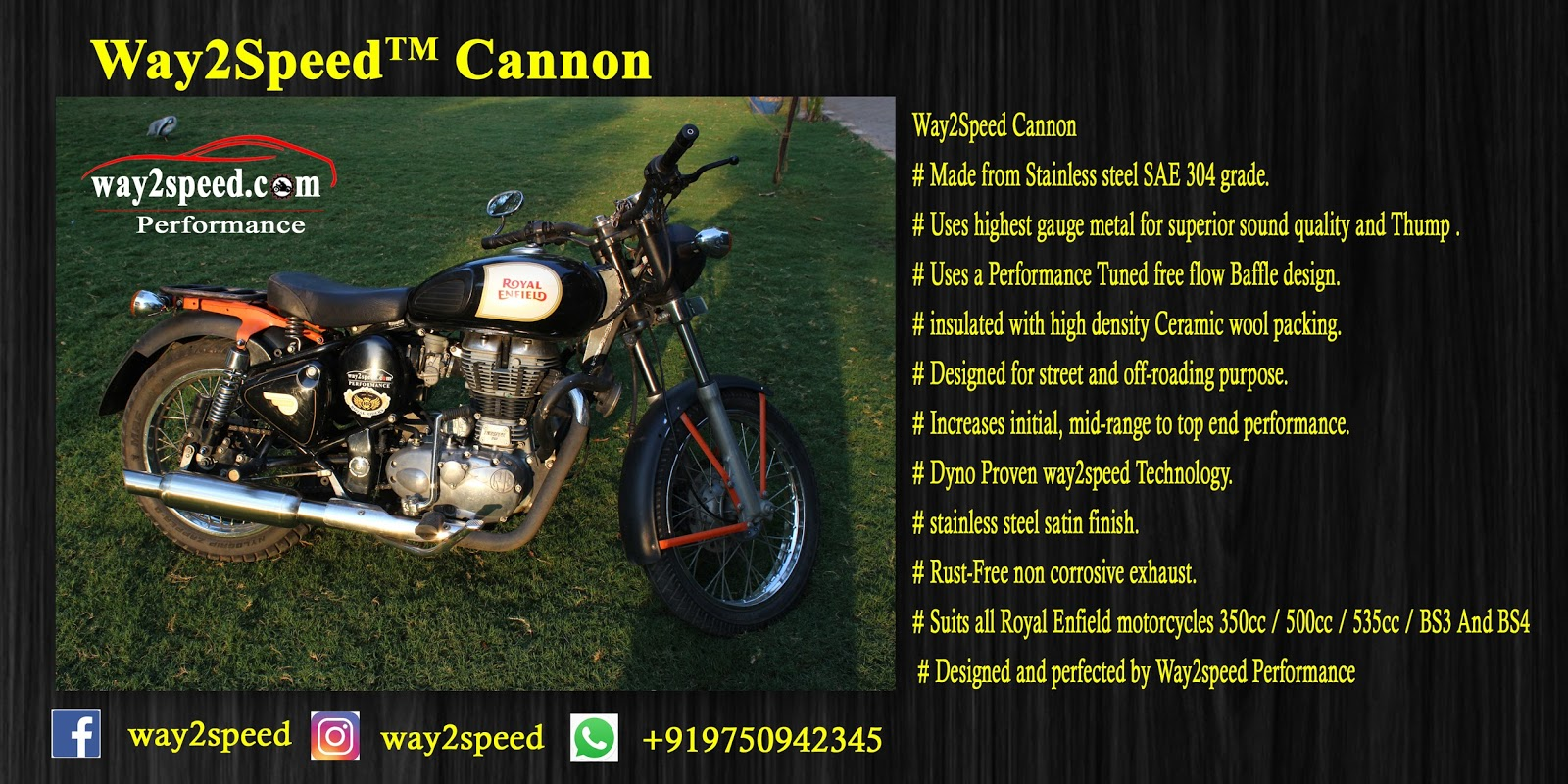 "Royal Enfield Free Flow Silencer ""way2speed Cannon"""