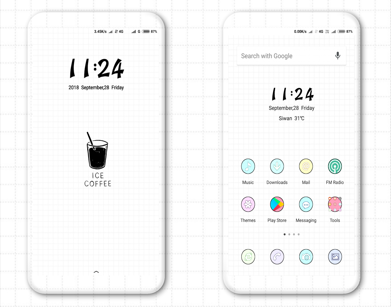 Ice Coffee MIUI Theme MTZ Download For Xiaomi Mobile