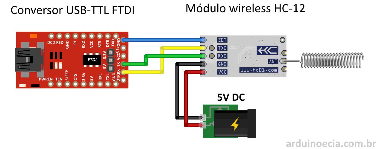 Conexão HC-12 e módulo FTDI