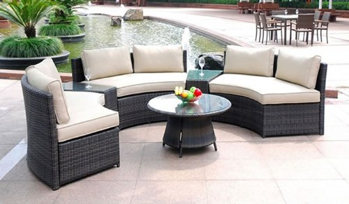 Curved 6 Seat Outdoor Wicker PE Rattan Sofa Lounger Patio
