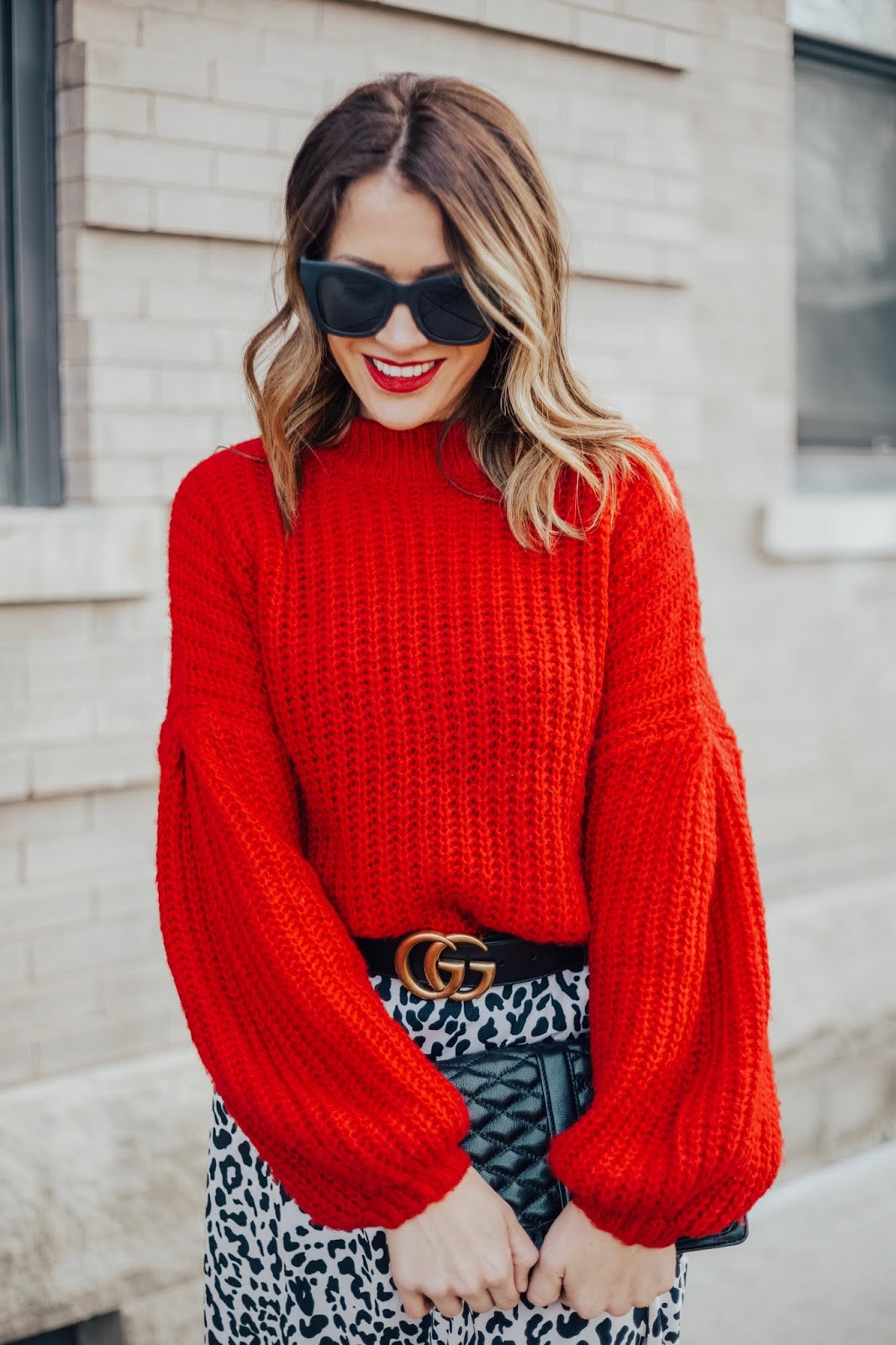 Leopard Skirt With Red Sweater