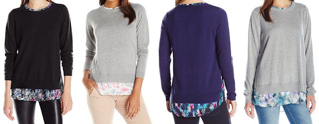 NYDJ Mixed Media Scoop Neck Two-Fer Sweater $49 (reg $98)