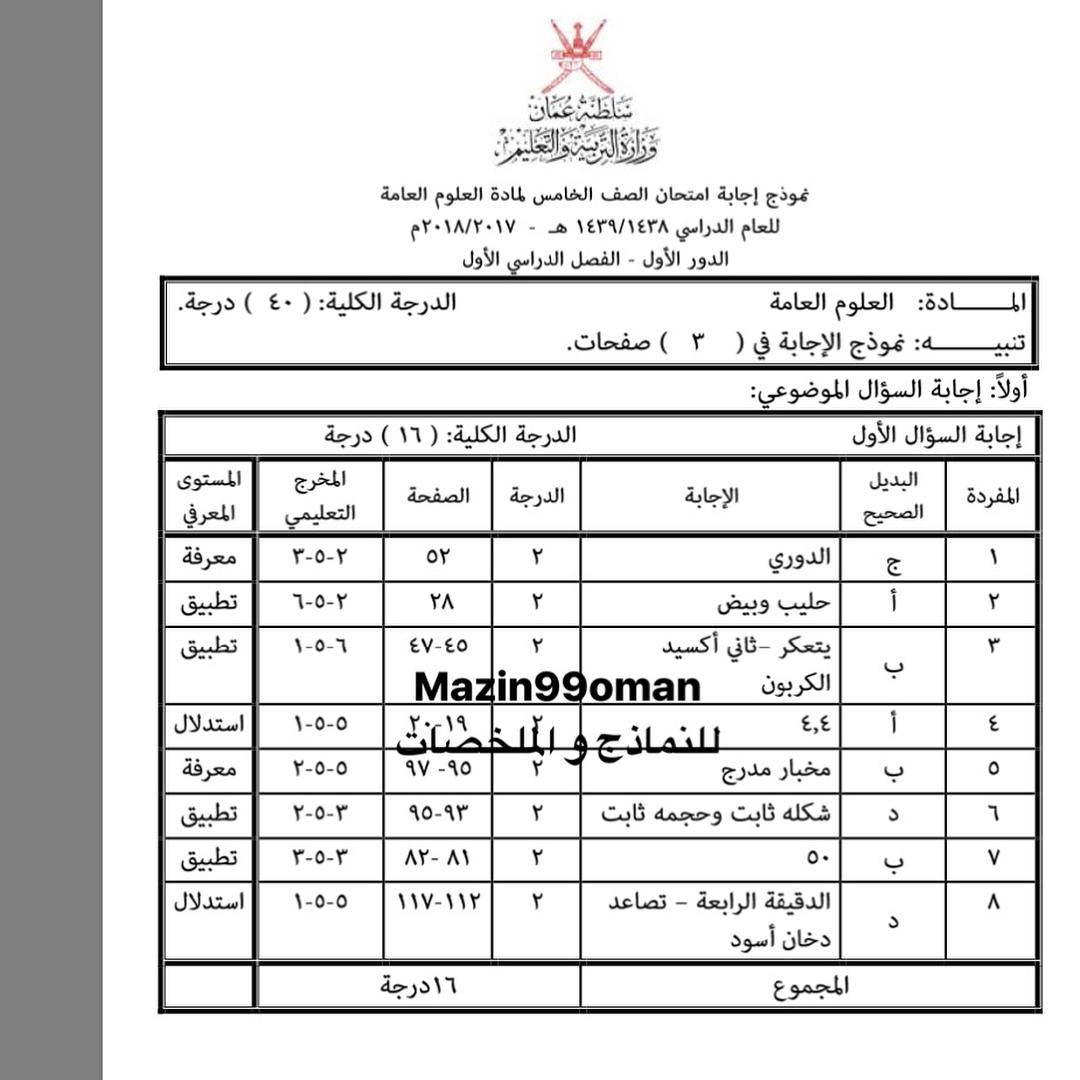 كراسة العلوم للصف الثامن الفصل الاول سلطنة عمان