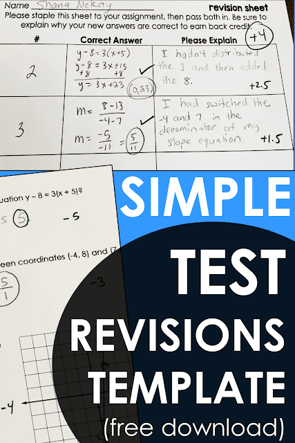 Do test corrections and revisions take forever for you to grade? This is the simple math test corrections template that I use. It is a free pdf download.