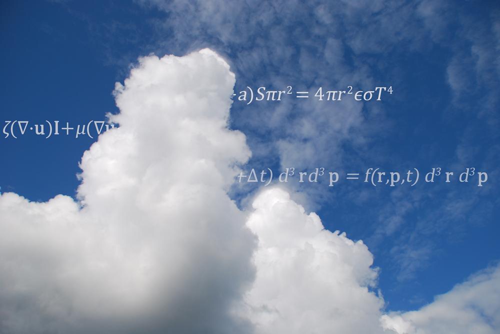 Pilvi ja siihen mahdollisesti liittyviä yhtälöitä.
