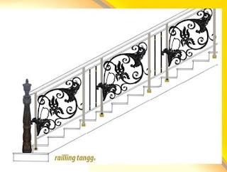 Desain Khusus Railing Tangga Besi Tempa Klasik Terbaru dengan perpaduan Besi Tempa