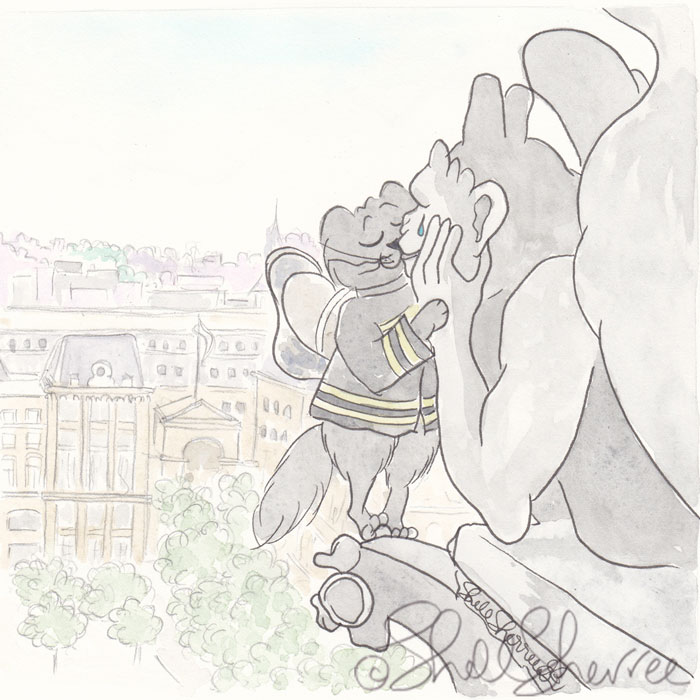 Feline Firefighter and Notre Dame Gargoyle illustration  © Shell Sherree all rights reserved