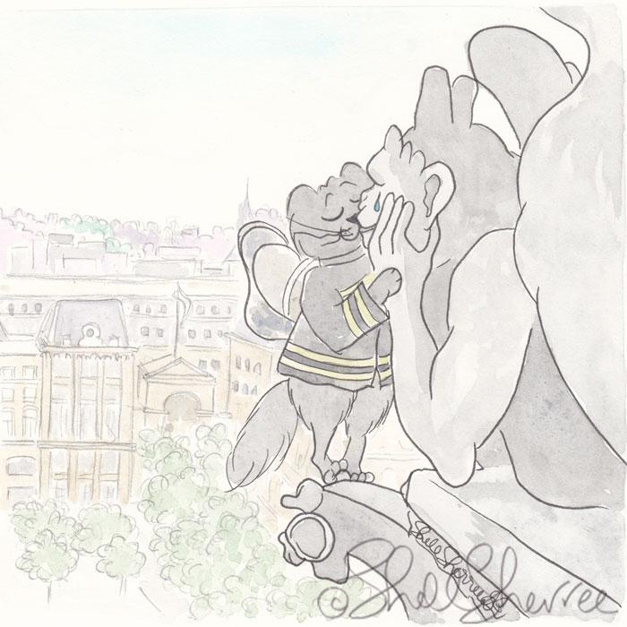 Feline Firefighter and Notre Dame Gargoyle illustration  © Shell Sherree all rights reserved