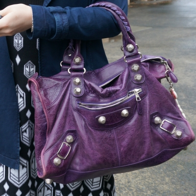 balenciaga purple giant silver g21 hardware slouchy work bag | away from the blue