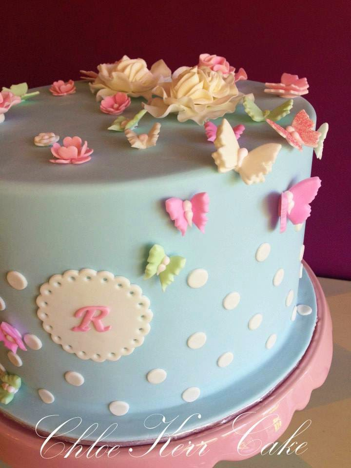 Pale Blue Polka Dots And Butterflies Birthday Cake