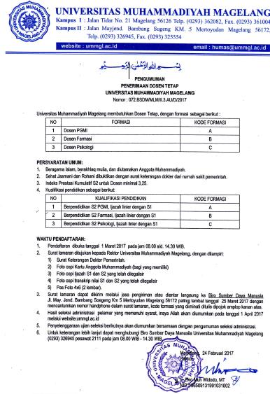 Lowongan Dosen Universitas Muhammadiyah Magelang Tahun 2017