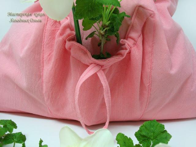 Розовая сумка карман