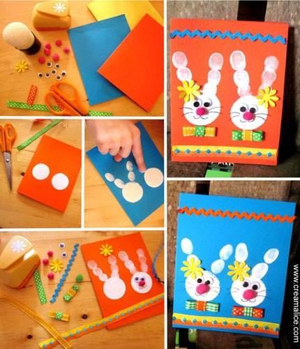 Actividades niños Pascua tarjetas con los huellas de los dedos