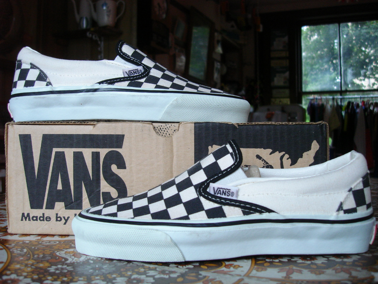 c7bf312dfe vintage VANS black   white checkerboard SLIP-ON style  98 MADE IN USA 90 s  checks checkers US4.5 womens youth OFF THE WALL