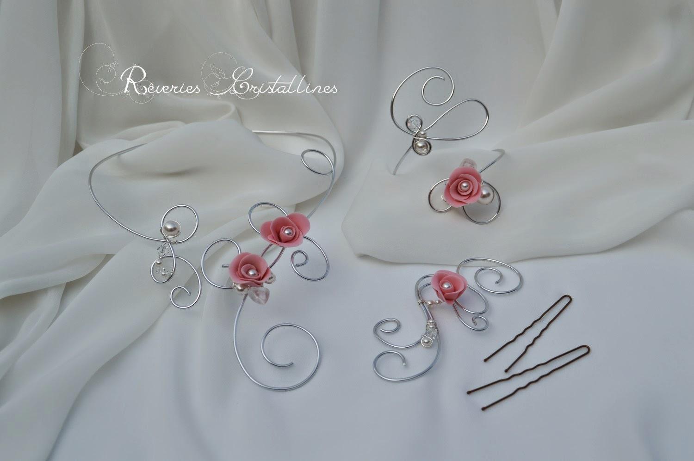bijoux mariée fantaisie parure fil aluminium