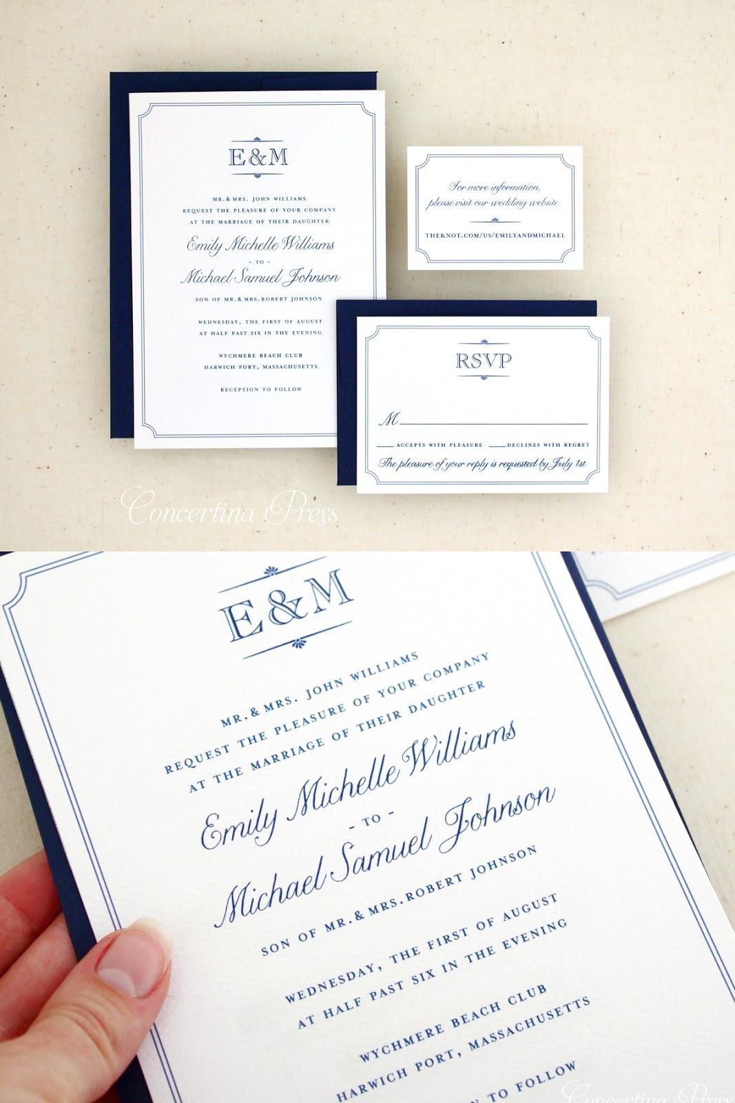 Elegant Monogram Invitation for a Wychmere Beach Club Wedding from Concertina Press