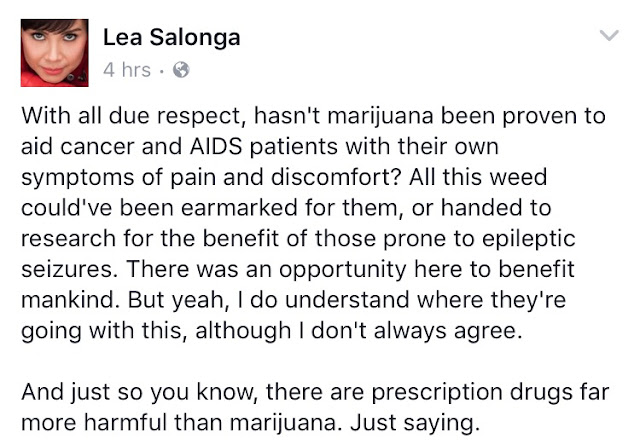 The Voice PH Kids Coach Lea Salonga promotes marijuana for medical use