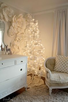 White Christmas tree in romantic Farmhouse Christmas holiday decorating shabby chic