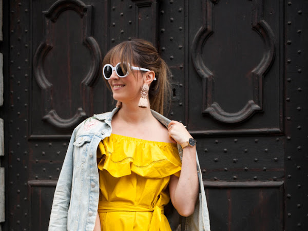 Outfit: goldenrod off-shoulder dress