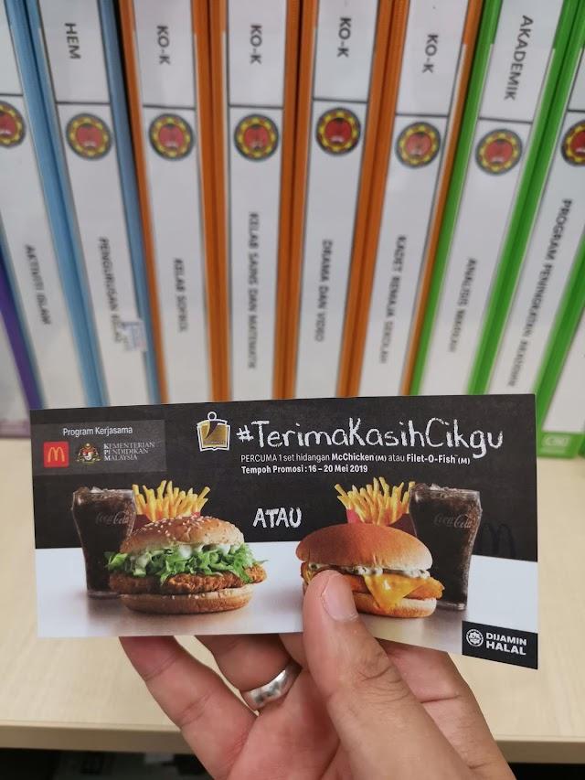 Cikgu Dah Redeem Baucer Free McDonald's?