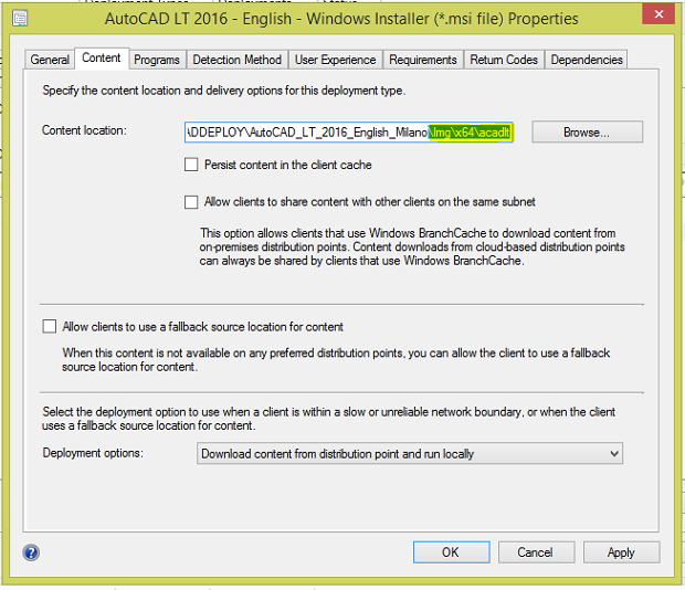 How to deploy AutoCAD using SCCM 11
