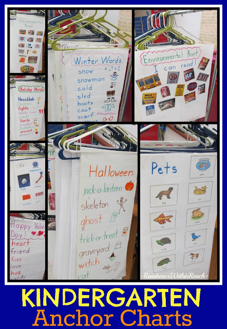 photo of: Kindergarten Anchor Charts (hanging from hangers) via RainbowsWithinReach