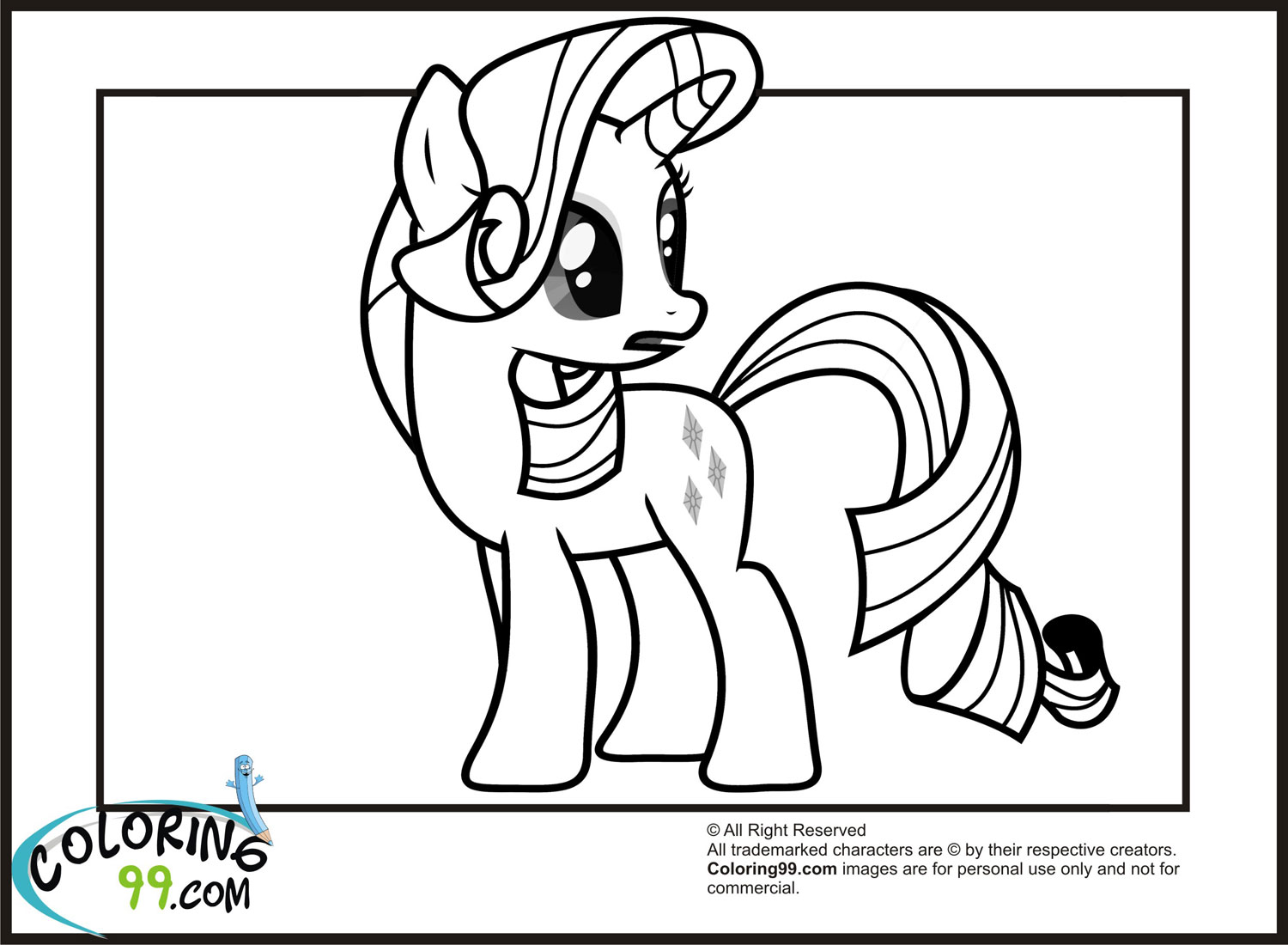 My Little Pony Coloring Pages Rarity In Dress