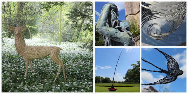 A selection of sculptures from the Elements of Capability exhibition at Lacock Abbey