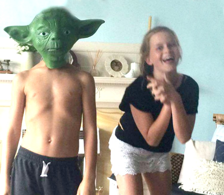 Hilarity with a yoda mask