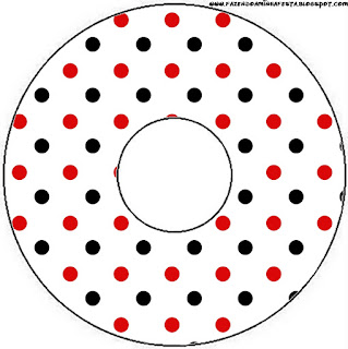 Red Polka Dots in Black and White Free Printable CD Labels.
