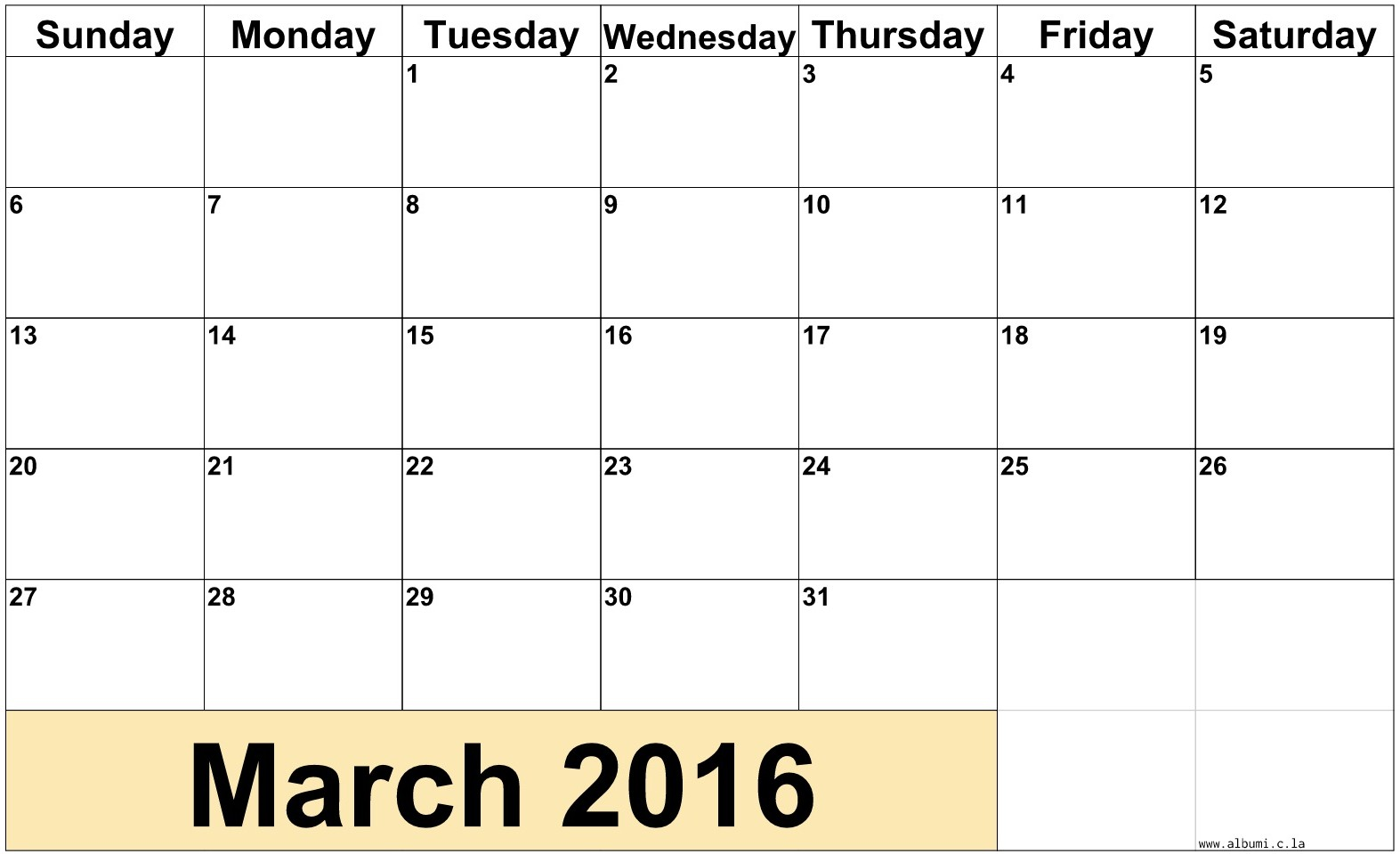 Monthly March 2016 kalendar with notes case. printable for your personal use.