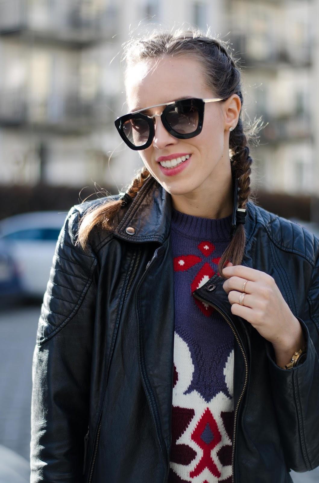 kristjaana mere prada sunglasses barneys leather jacket dutch braids spring fashion